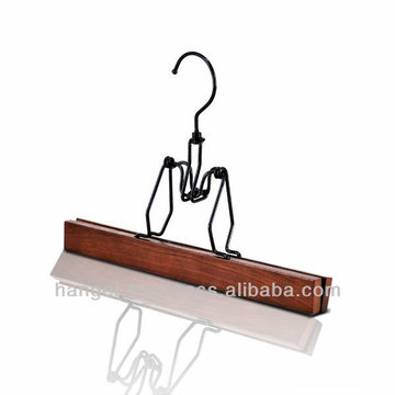 Reddish Brown Wooden Pants Pinching Hanger for Bedroom Furniture
