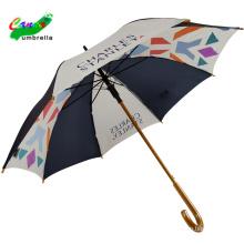 Minigolfwerbung Holzrahmen blau weiß bunter Regenschirm