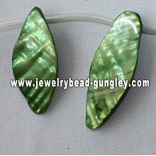 grass green leaf shape freshwater shell beads