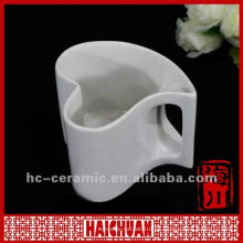 Taza de té en forma de corazón de porcelana, taza en forma de corazón