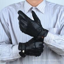 Gants homme en cuir noir avec fermeture à glissière