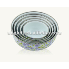 enamel mixing storage bowl sets with PP lid