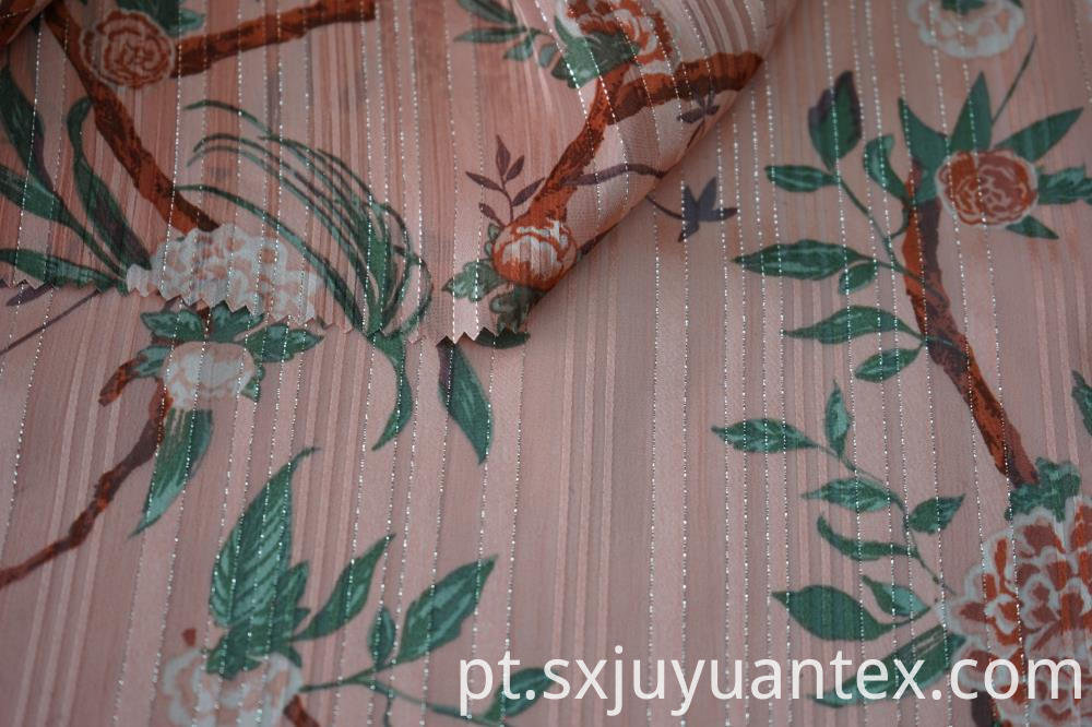 Polyester Silver Lurex Stripe Dobby Fabric