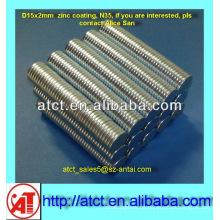 D15x2 Zink-Beschichtung Disk Magnet zum Verschließen der Tasche