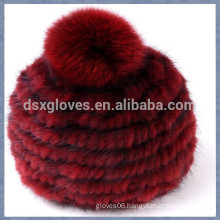 Red Mink Fur Cap With One Solid Spheres
