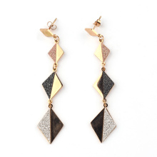 Right Grand fashion design hot sale wholesale personality long Lamination charm square alloy Earrings for women