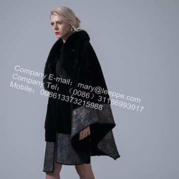 Australien Merino Shearling Cape Coat For Lady