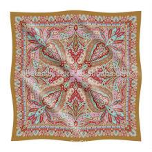 Custom Printed Paisley Design Small Silk Handkerchief Custom Printed