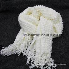 100% Acrylic Fashion White Bubble Warp Knitted Scarf with Fringe