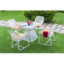 Diseño elegante de café de rattan poli y juego de comedor para muebles de jardín al aire libre