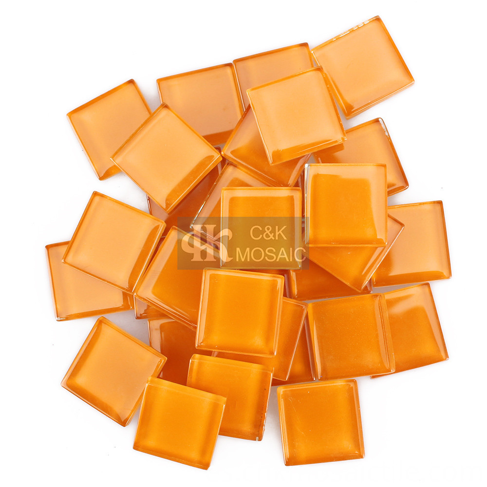 Orange Glass Tile for Mosaic Art and Craft