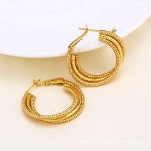 14k ouro cor círculo design moda imitação brinco (24379)