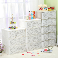 Printing Plastic Storage Drawer Cabinet with Lock (FL-154)