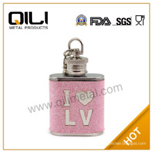 Embossing on leather hip flask vacuum flask