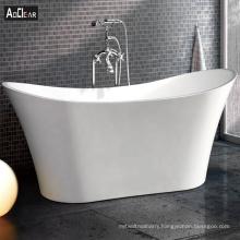 Aokeliya modern white colored large soaking freestanding bathtub comfortable boat-shape bathtub for all ages