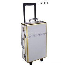Luxury aluminum trolley case with anodised gold aluminum frame wholesales