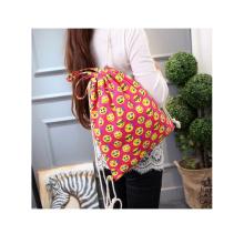 Custom printing high quality canvas fabric portable drawstring backpack