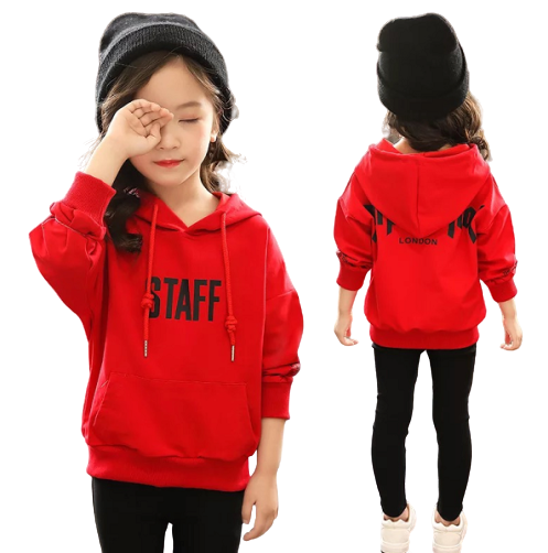 Girls Printed Letter Pretty Cotton Pullover Hoodies And Sweatshirts