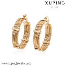 94380 arabic style free size copper alloy graceful gold hoop earring designs for girlfriend gift