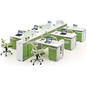 Office furniture supply, office working desk furniture pearl white + parrot green,Office desks furniture design (JO-5006-6)