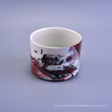 8cm Height 18oz Landscape Decorative Marble Ceramic Candle Holders