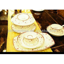 Foodafe materiales donga y tapa taza y platillo cuadrado moderna vajilla negro