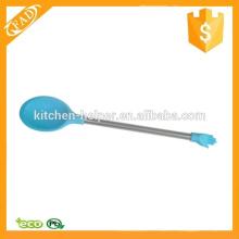 Diferentes colores reutilizables cuchara de café de silicona cuchara de mezcla de acero inoxidable