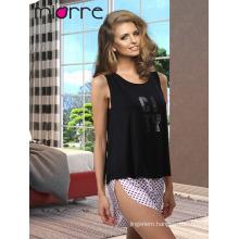 Miorre OEM New 2017 Season Women's Fashionable Sleeveless Printed Singlet Top & Sexy Satin Short Summer Pajamas Set