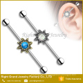 Customized Surgical Steel Opal Flower 14g Industrial Barbell
