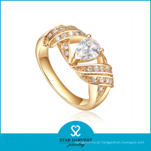 Atacado de embutimento AAA CZ anel de prata dourada (SH-R0335)