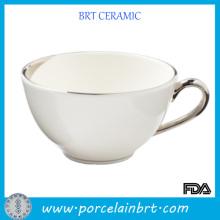 Белый Eco-друга более крупные керамические чай чашка с серебряной ручкой
