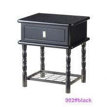 Mesa de cabeceira moderna de madeira preta e mesa de cabeceira de metal (002 # preto)