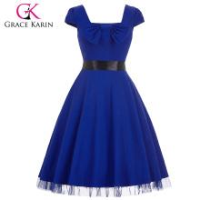Grace Karin Stock Square Neck High Stretchy Blue Cap Sleeve Retro Vintage Dress CL008951-3