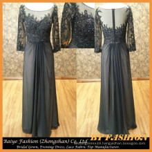 Long Sleeve Evening Dress for Seniors Chiffon Night Party Dress with lace fabric BYE-14077