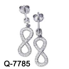 Pendiente infinito del ajuste micro de la plata esterlina 925 de la joyería de la manera (Q-7785)