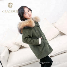 Fast supplier real raccoon fur hood parka kids jacket with fur lining thick winter coat