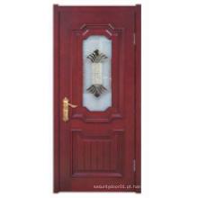 Design simples com janela de vidro Porta de madeira sólida