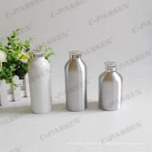 Botella de aluminio en polvo blanca con tapa de tamiz de aluminio