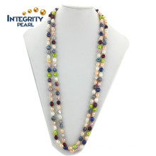 "Beautiful Long 63"" AA 8mm Baroque Freshwater Colorful Custom Pearl Necklace"