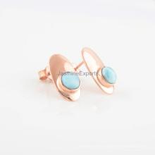 Handmade Rose Gold 925 silver Gemstone Earrings, Round Shape Beautiful Larimar Stone Earrings