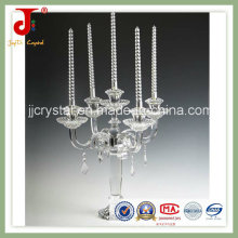 Crystal Glass Candle Holder with Hanging Crystal