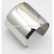 Womens Shiny metal steel Long wide silver cuff bracelet bangles