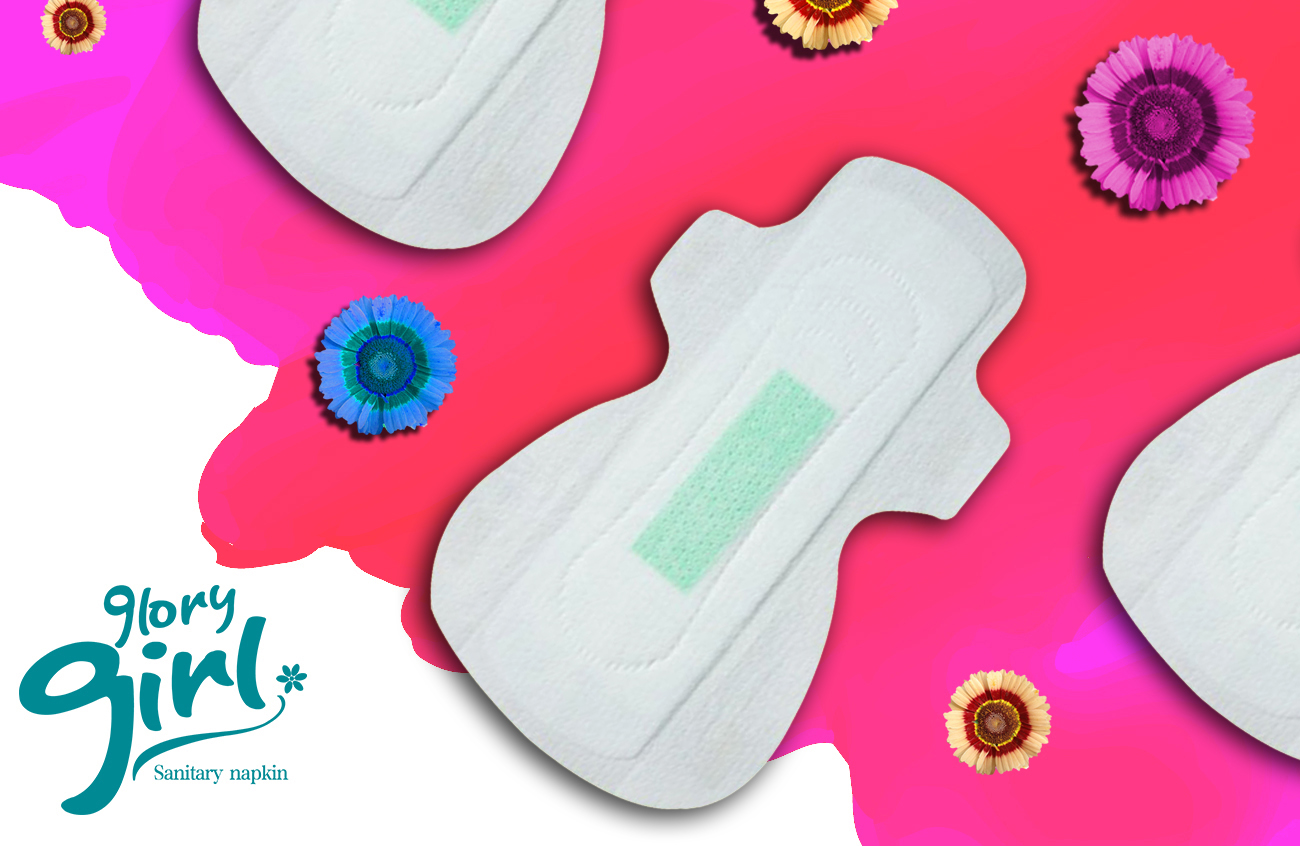 Feminine sanitary napkins with green anion chip