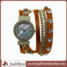 2016 Hot Fashion Alloy Watch Women′s Watch Wholesale Genuine Leather Watch Quartz Watch