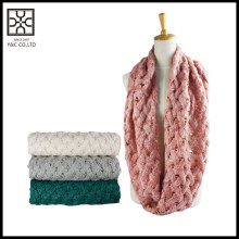 hot selling fashion infinity solid color knitting scarf for women