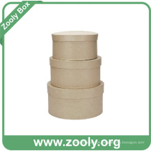 Natural Brown Papel Kraft Papelão Round Nesting Hat Box