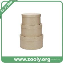 Natural Brown Papel Kraft Papelão Round Nesting Hat Box