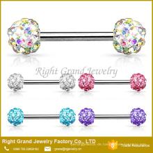 Chirurgenstahl Crystal gepflasterten Ferido Balls Barbell Nippel Ring