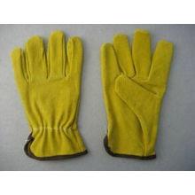 Gelber Schweinespalten-Leder-treibender Arbeits-Handschuh