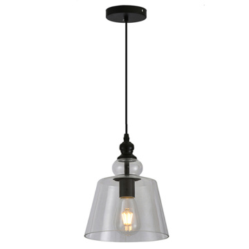 Suspension industrielle en verre transparent Edison